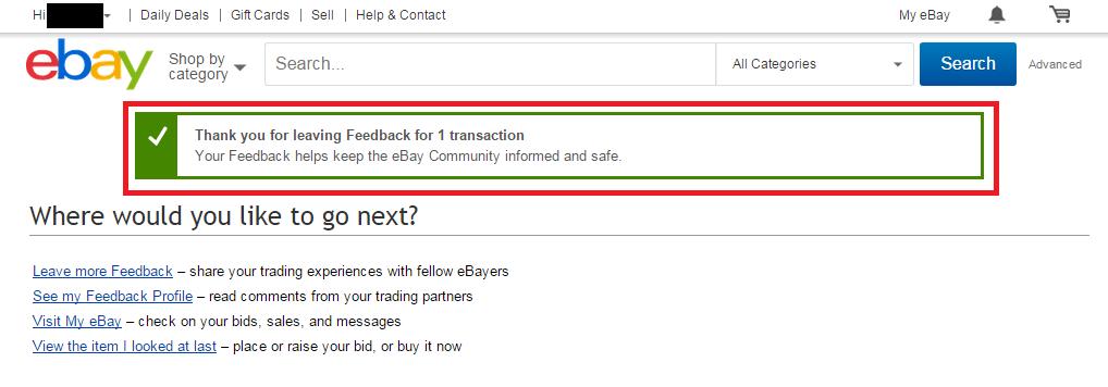 eBayで購入後、評価(FeedBack)を行う方法