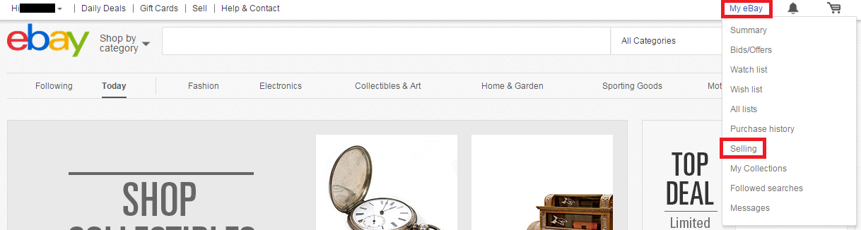 「My ebay」の「Selling」を選択