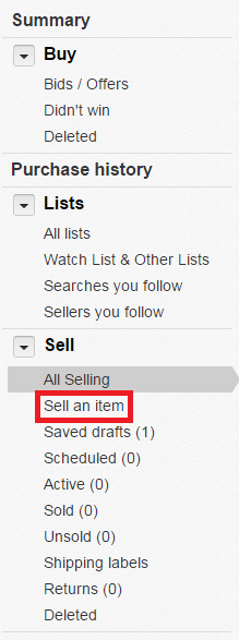 「Sell an item」を選択