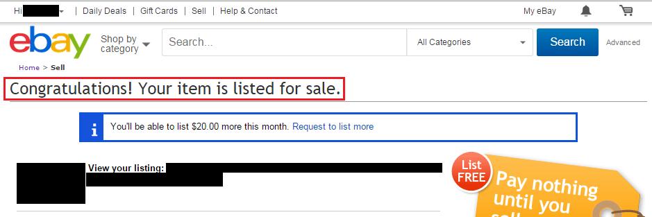 eBayへの商品出品の完了