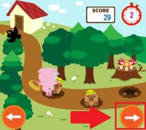 キノコ狩りは右側のボタンを連打するだけでクリアできる