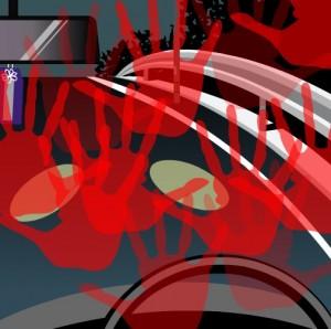 多数の赤い手形がフロントガラスに浮かび上がる。