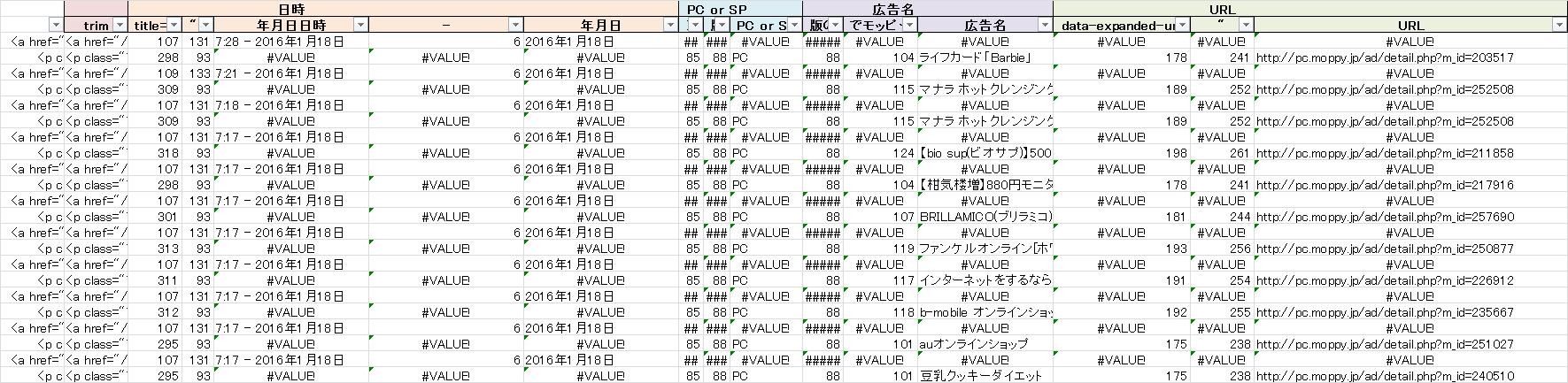 加工作業用のエクセルの一部。「#VALUE」のセルが多いですが、フィルタをかけたりするとイイ感じに必要箇所のみ抽出できます。
