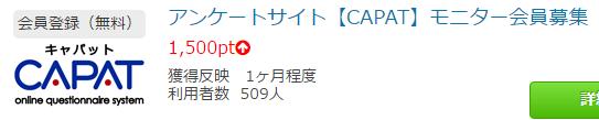 ポイントタウンの交換レートは「20pt = 1円」なので「1,500pt = 75円」です。