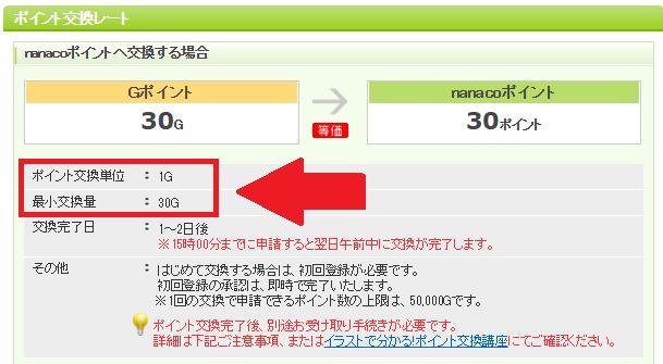 例えば、nanacoポイントは30pt(30円)から1pt(1円)単位で交換可能です。