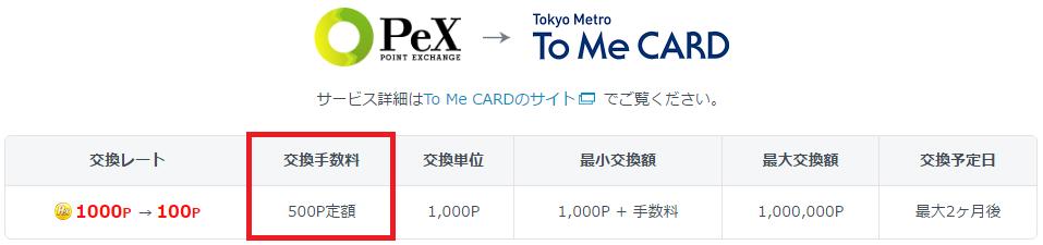 PEXでは「500pt = 50円」