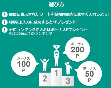 ランキングの賞金の他、6回以上の入力に成功すると1日1回に限り1ポイントを貰えます(パソコンとスマホで計2ポイント)。