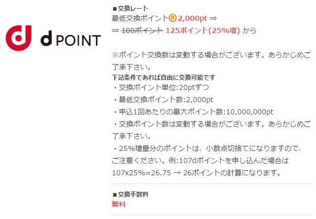 ポイントタウンは「20pt = 1円」なので「2,000pt = 100円」からdポイントに交換できます。