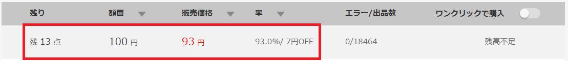 7%OFFのAmazonギフト券(100円分)