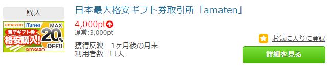 ポイントタウンは「20pt = 1円」なので「4,000pt = 200円」です。
