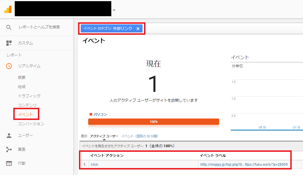 Google Analytics上でのクリックイベントの確認
