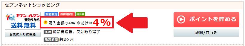 ポイントインカムのセブンネットショッピングの広告(4%還元)
