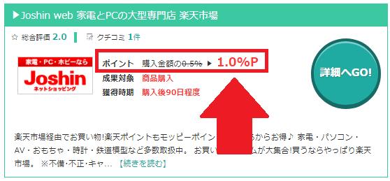 モッピーのJoshin webのポイント還元率1%