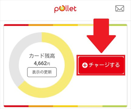 Pollet(ポレット)のアプリからチャージとカード発行を行なう
