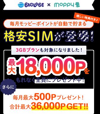 モッピーのBIGLOBE SIMのキャッシュバックキャンペーン