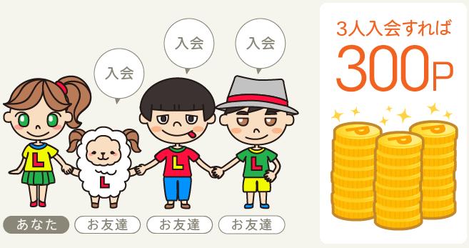 ライフメディアの友達紹介特典(3人紹介すると300円)