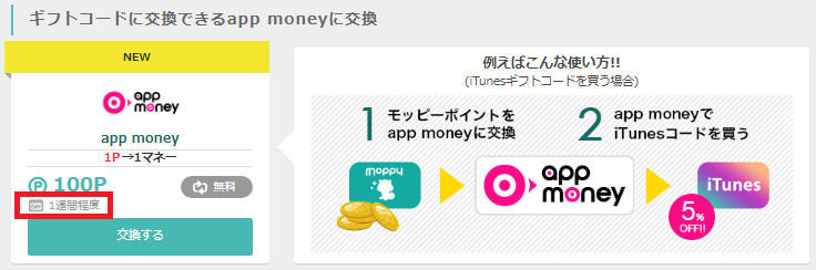 パソコン版モッピーからapp moneyへのポイント交換