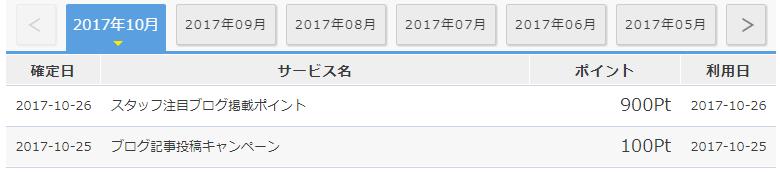ゲットマネーの通帳明細