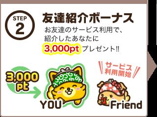 ポイントインカムの友達紹介ボーナス3,000ポイント(300円)