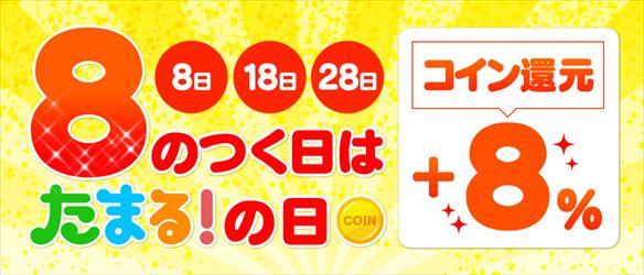 フジテレビ「たまる!」では毎月8のつく日はコイン還元率が+8%