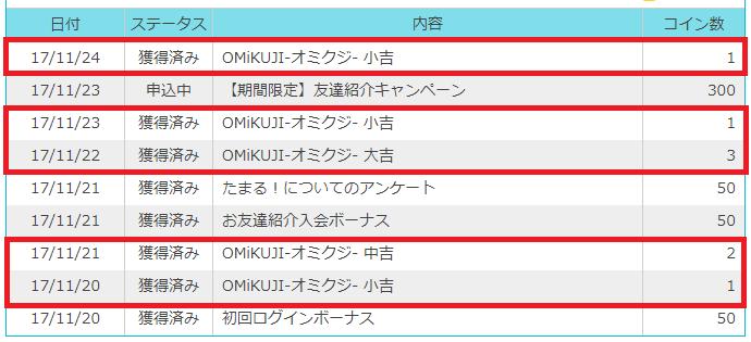 フジテレビ「たまる!」の「OMiKUJI-オミクジ- 」で稼いだコイン