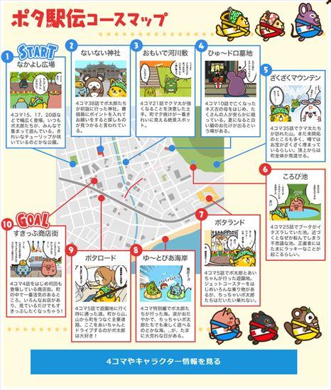 ポイントインカムで「豪華3本立て!年末年始キャンペーン!!」の「ポタ駅伝」のコース図