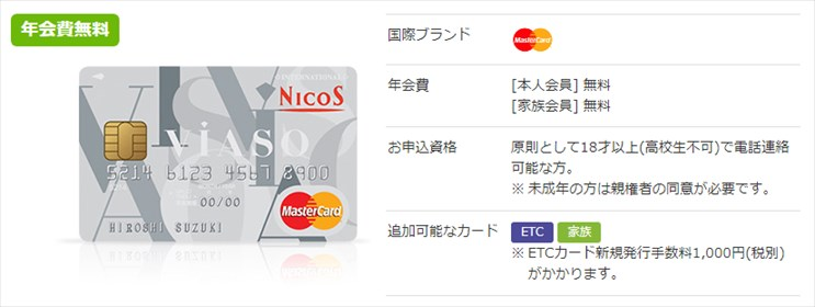 VIASOカードの特徴