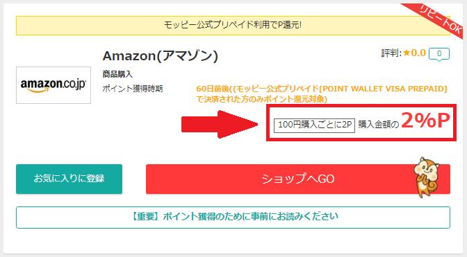 モッピー経由のAmazon購入は0.5%のポイント還元
