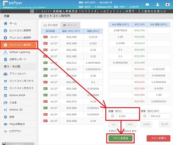 bitFlyer(ビットフライヤー) 簡単取引所で現物取引する(売る)方法