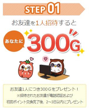 Gポイントの友達紹介制度 1人を紹介する度に300円