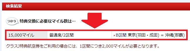 JALの国内特典航空券に必要なマイル(東京~那覇間)