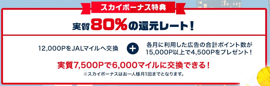 モッピードリームキャンペーン中はJALマイルへの交換レートが実質80%にアップ