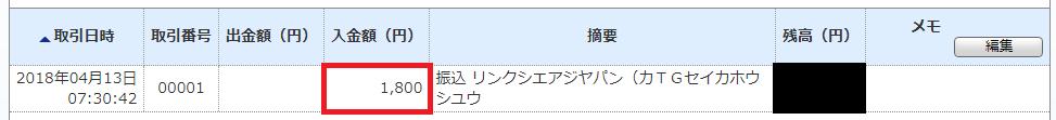 ジャパンネット銀行の通帳明細