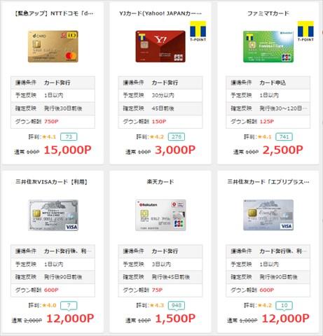 モッピーのクレジットカード発行の広告