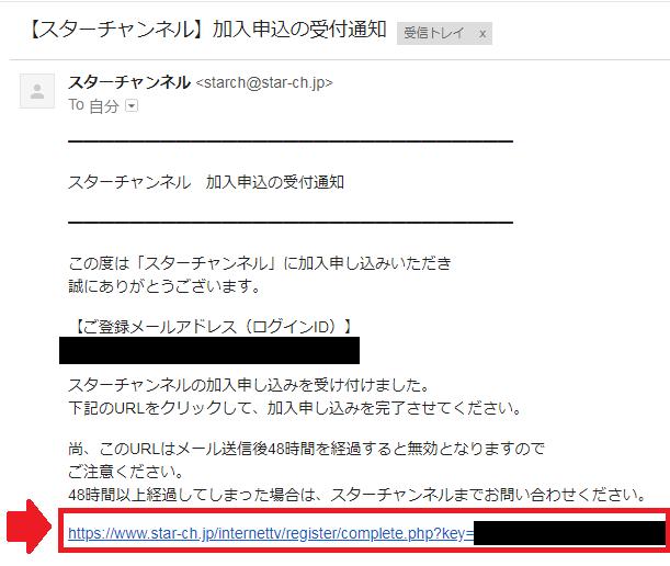 確認用URLのクリック