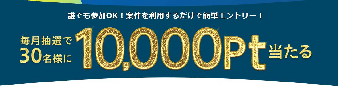 ゲットマネーの月末プレミアムデーは抽選で30名に10,000ポイントが当たる