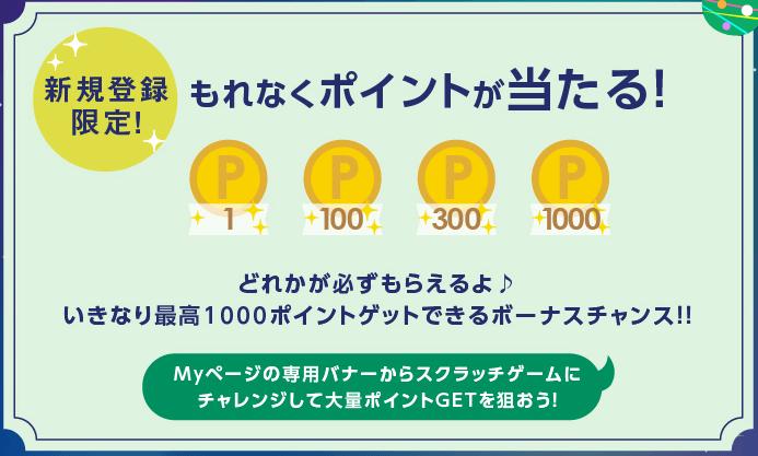 【マクロミル】新規登録で最大1,000円を貰えるキャンペーンで当選するポイント