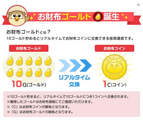 お財布.comのコインとゴールドの関係
