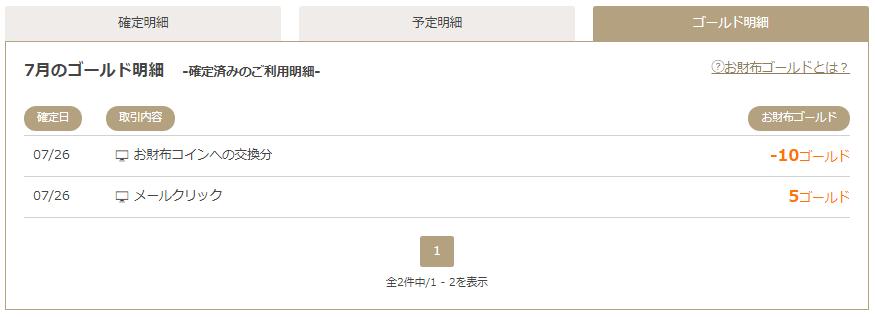 お財布.comの獲得ゴールドの明細