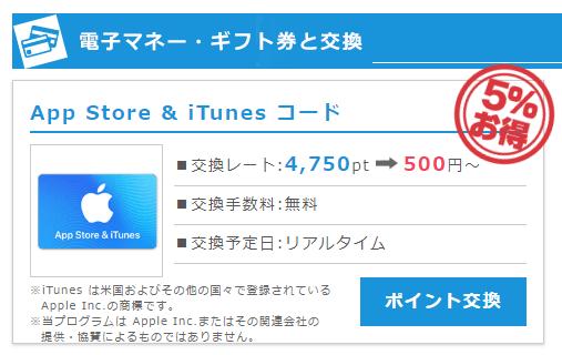 ポイントインカムの「App Store&iTunesコード」への交換レートは5%OFFF