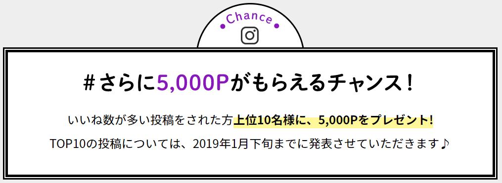 モッピーの「#モピ友増やそうキャンペーン2018winter」の特典(いいね数が多い上位10名に5,000ポイント)
