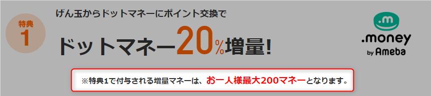 【げん玉】ドットマネーへ交換で20%増量するキャンペーンの交換上限は1,000円まで