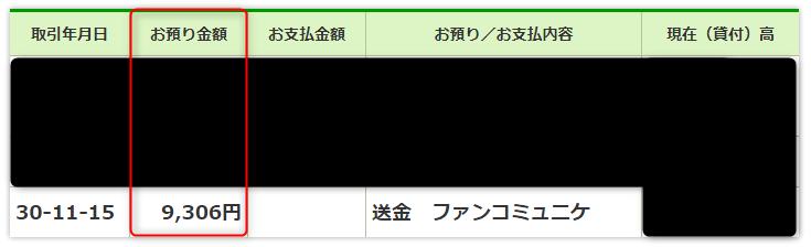 ゆうちょ銀行の通帳明細(2018年11月)