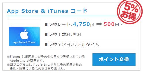 iTunesギフトコードへの交換レードが常に5%OFF