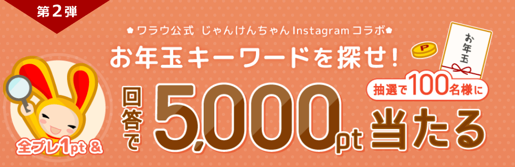 【ワラウ大感謝祭第2弾】お年玉キーワードで5,000ポイントが当たる