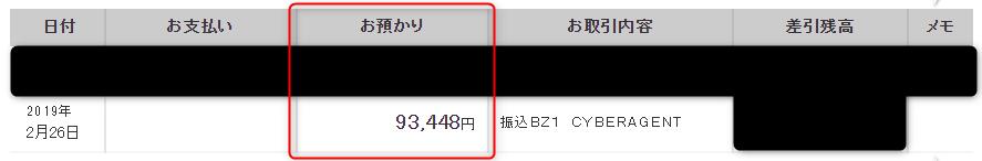 三菱UFJ銀行の通帳明細(2019年2月)