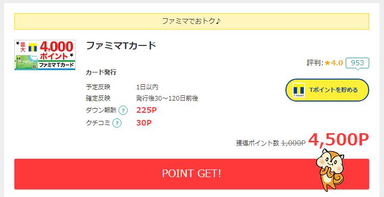 モッピーのファミマTカードの還元額は4,500円