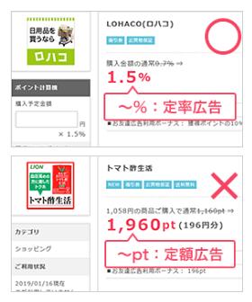 ポイントインカム「お買い物代金ポイントバックキャンペーン」は定額広告は対象外