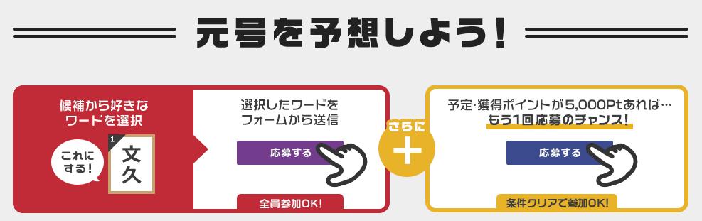 ゲットマネー「新元号予想キャンペーン」の参加方法